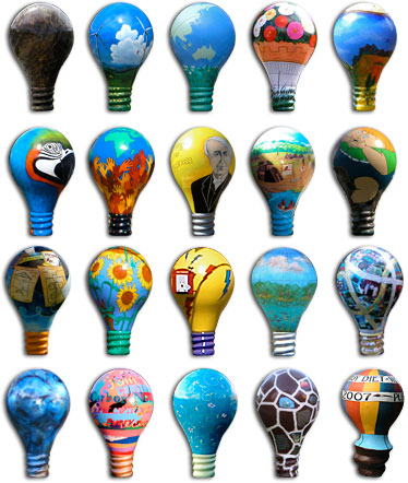 Many Different Painted Light Bulbs, Representing Ideas