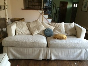 7 foot long white couches (2)